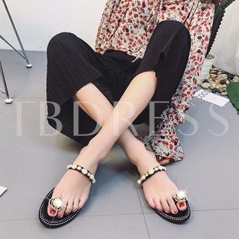 Bead Rhinestone Toe Ring Women's Slippers
