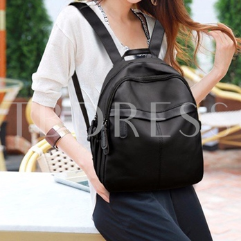 Casual Solid Color Zipper Women Backpack