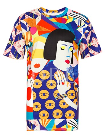 Colorful Comic Print Mid-Length Women's T-Shirt