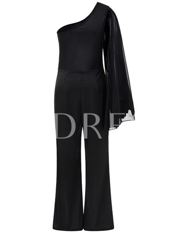 Plain Asymmetric Chiffon One Shoulder Women's Jumpsuit