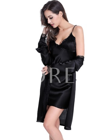 Two-piece V-Neck Bowknot Nightdress and Lace-Up Robe
