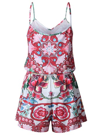 Floral Print Cami Women's Rompers