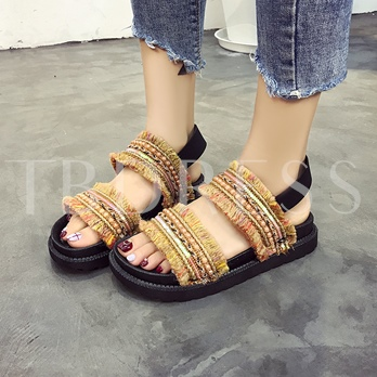 Cloth Vocation Style Shoes Elastic Band Sandals for Women
