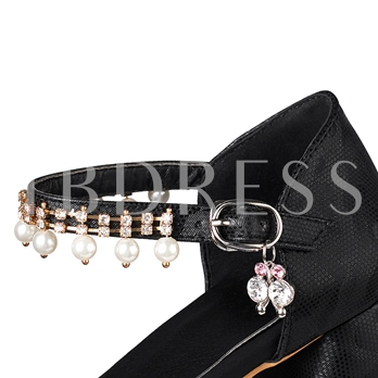 Glitter Shoes Beads Chunky Heel Women's Prom Shoes