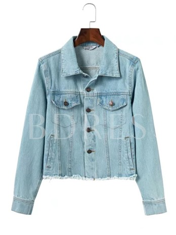 Worn Long Sleeve Women's Denim Jacket