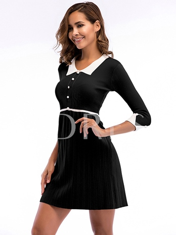3/4 Sleeve Single-Breasted Women's Day Dress