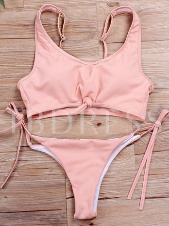 Fashion Plain Knotted Bikini Set
