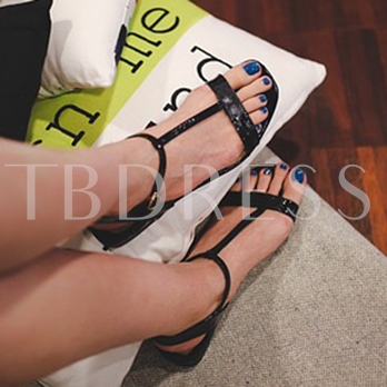 Square Toe Buckle Black Leatherette Sandals