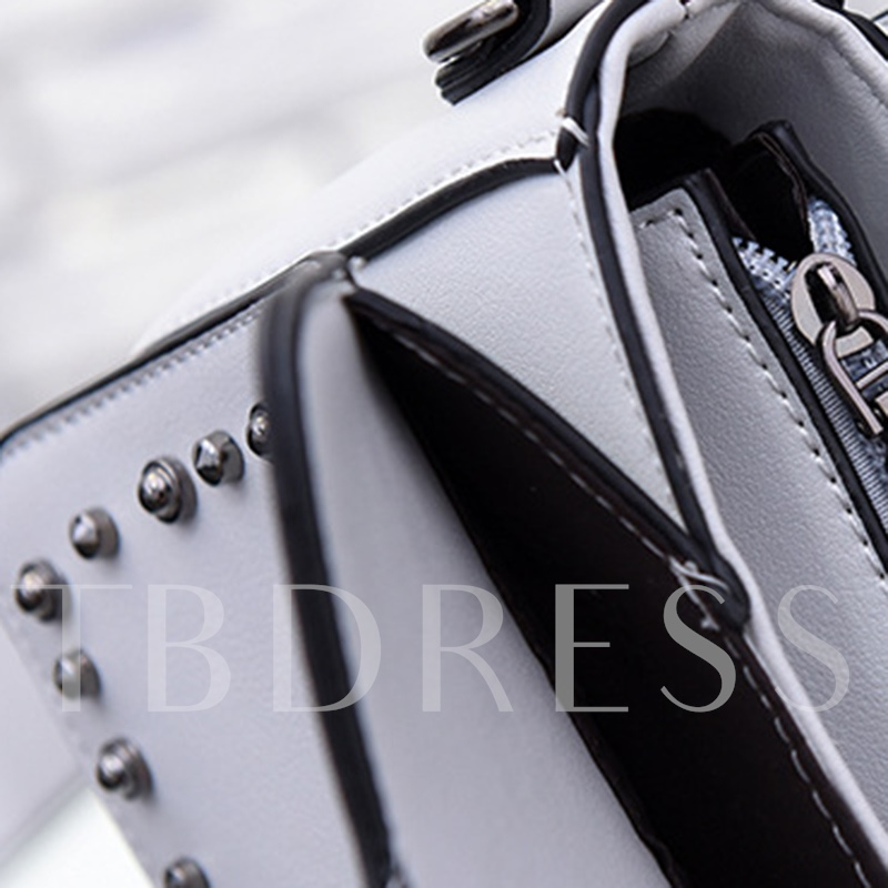 Rivets Adornment PU Chain Crossbody Bag