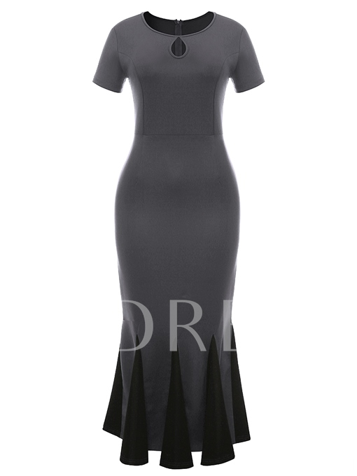 Keyhole Neck Short Sleeve Mermaid Women's Sheath Dress
