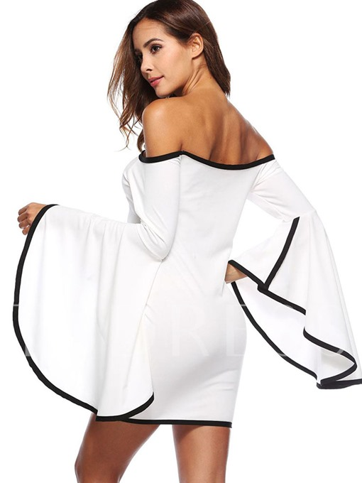 White Off Shoulder Women's Party Dress