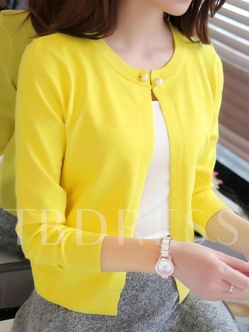 Plain Solid Color One Button Women's Knitwear