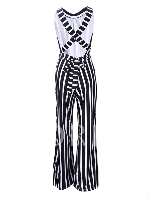 Slim Stripe Print Women's Jumpsuit
