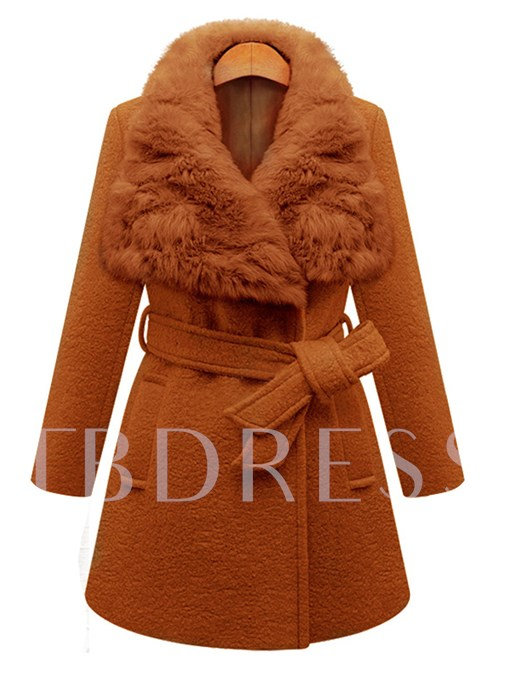 Faux Fur Collar Belt Slim Thick Women's Winter Overcoat