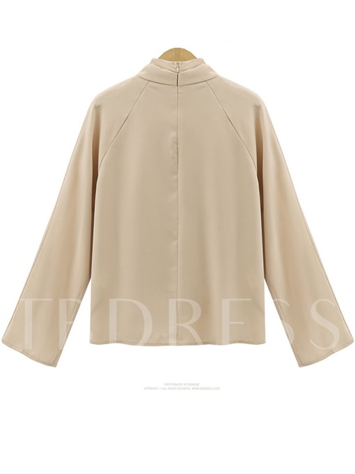 Heap Collar Tie Neck Solid Color Women's Blouse