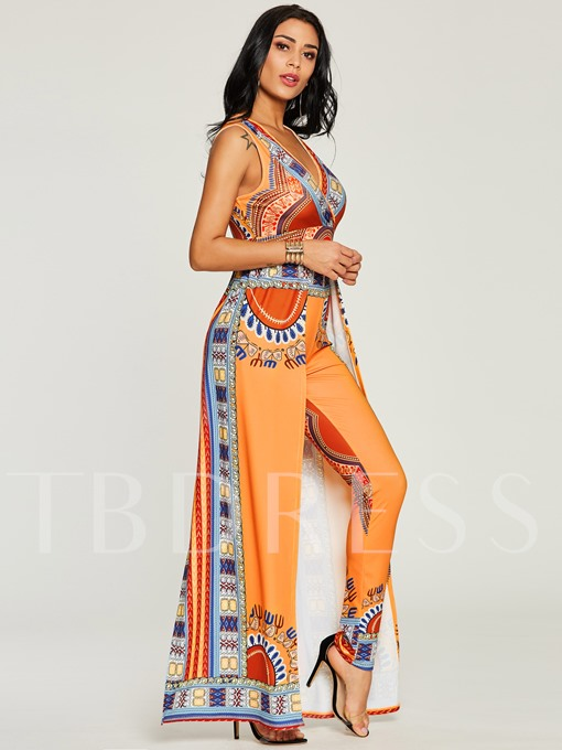 African Print V Neck Color Block Women's Jumpsuit