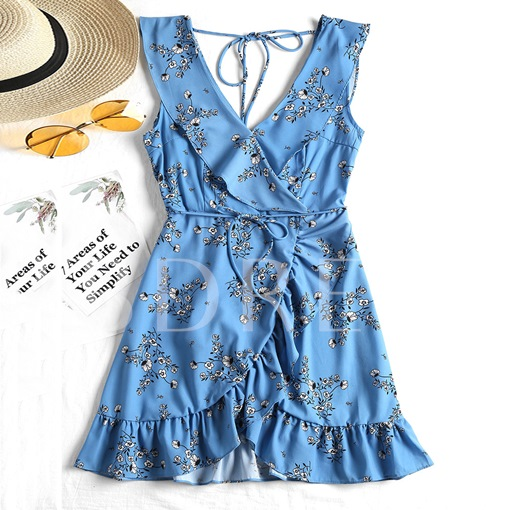 V Neck Sleeveless Ruffle Print Women's Day Dress