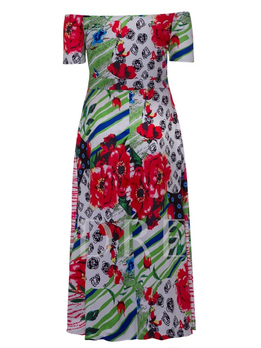 Plus Size Off Shoulder Printing Women's Sheath Dress