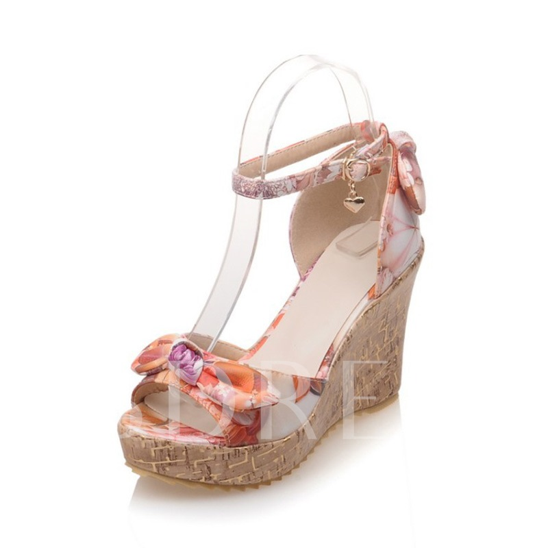 Floral Print Shoes Buckle Wedge Sandals for Women