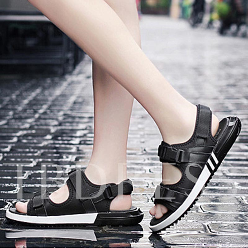 Open Toe Buckle Plain Flat Sandals Seaside Shoes for Women