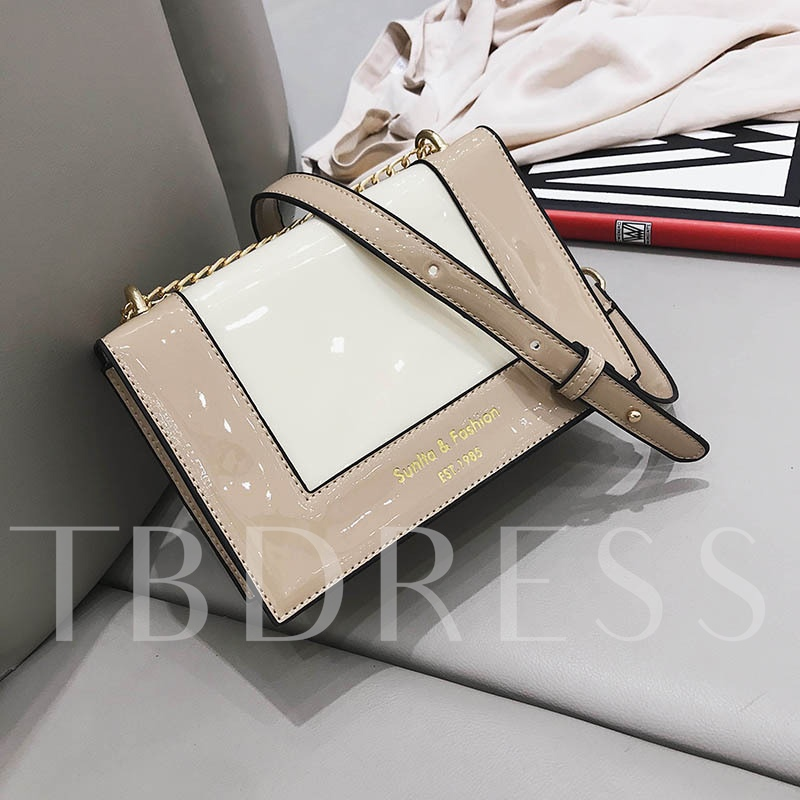 Glossy Color Block PU Women Cross Body Bag