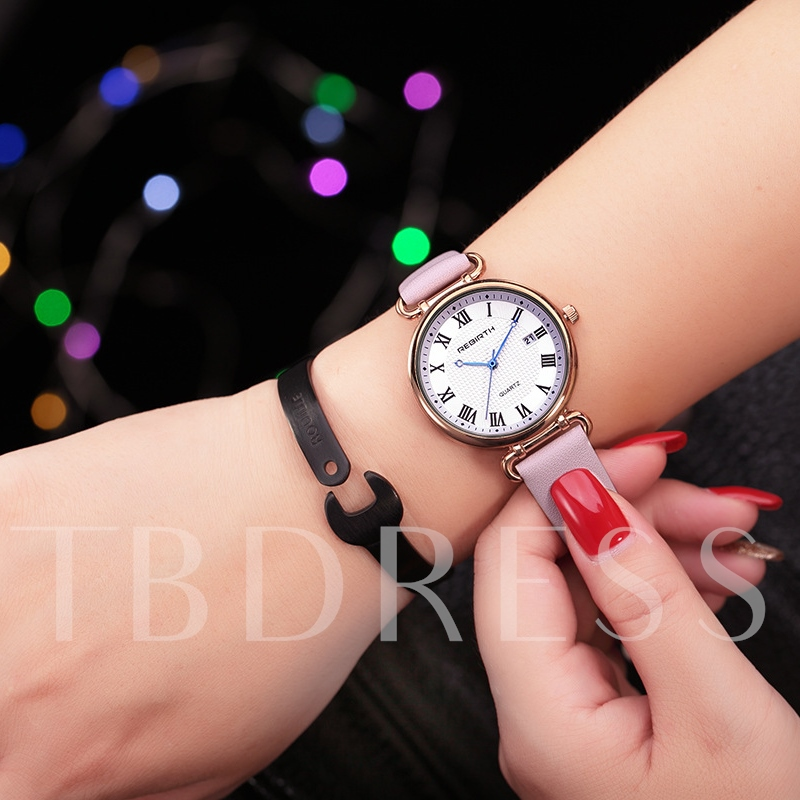 Alloy Hardlex Round Casual Watches