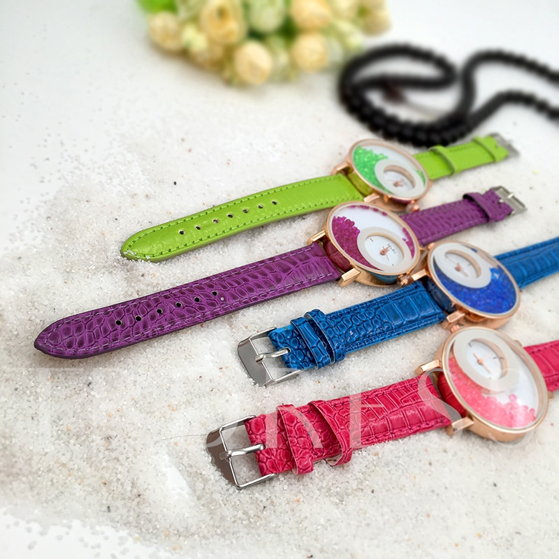 Rhinestone Artificial Leather Strap Watches