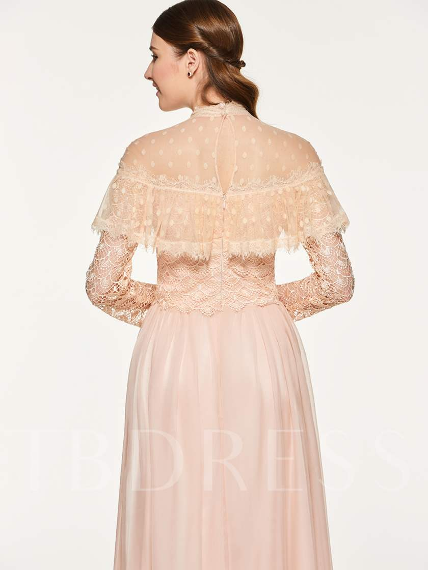 Lace High Neck Long Sleeve Bridesmaid Dress
