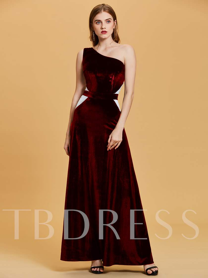 Velvet One-Shoulder Sequins A-Line Evening Dress