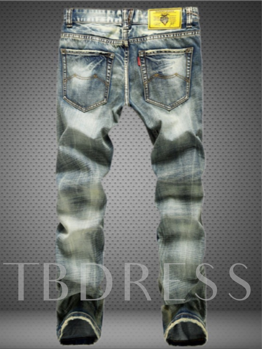 Men's Jeans with Distressed Pattern Mid Waist