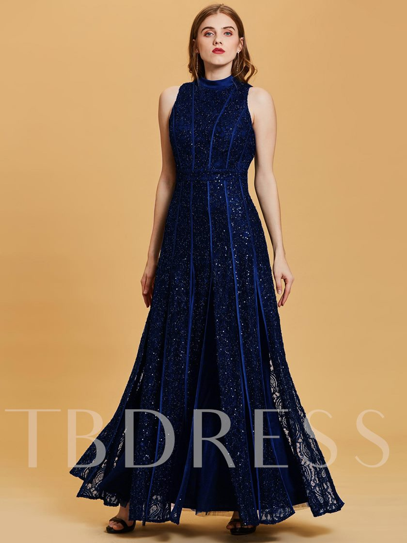 Scoop Neck Sequins A-Line Evening Dress
