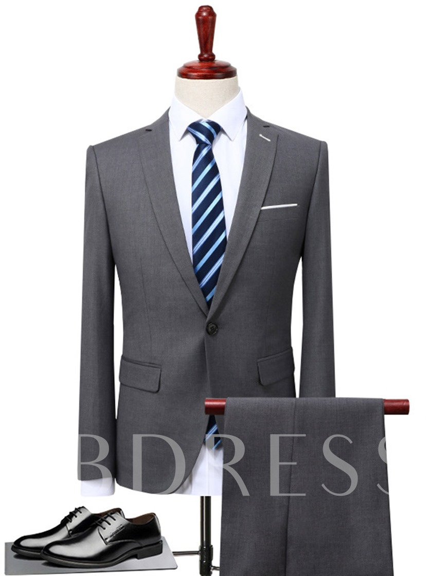 One Button Plain Solid Color Slim Men's Dress Suit