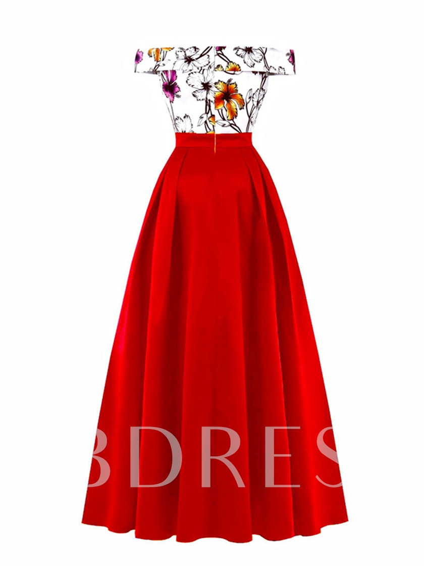 Off-the-Shoulder Printing Evening Prom Dress