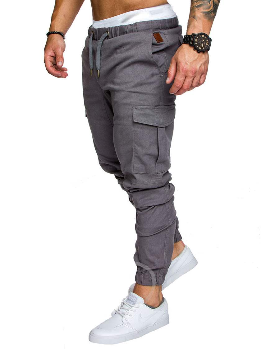 Lace-up Pockets Elastic Men's Casual Pants