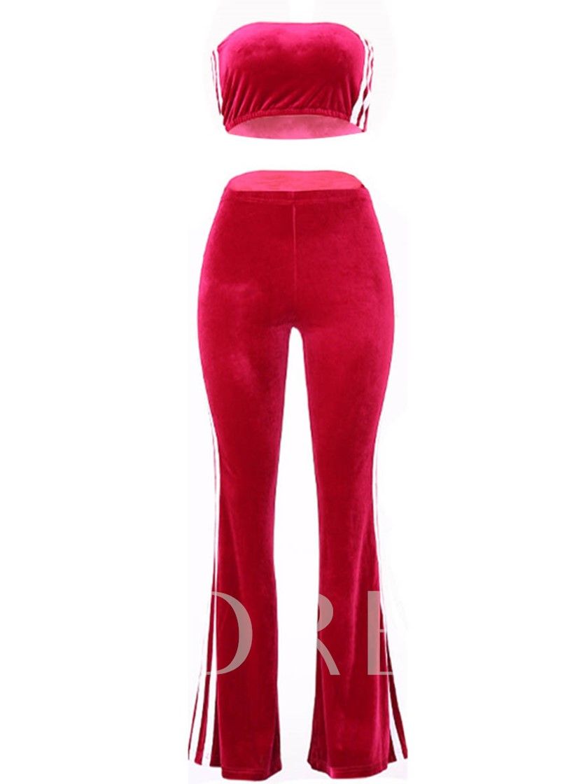 Striped Side Crop Top & Pants Set Women's Two Pieces Outfits