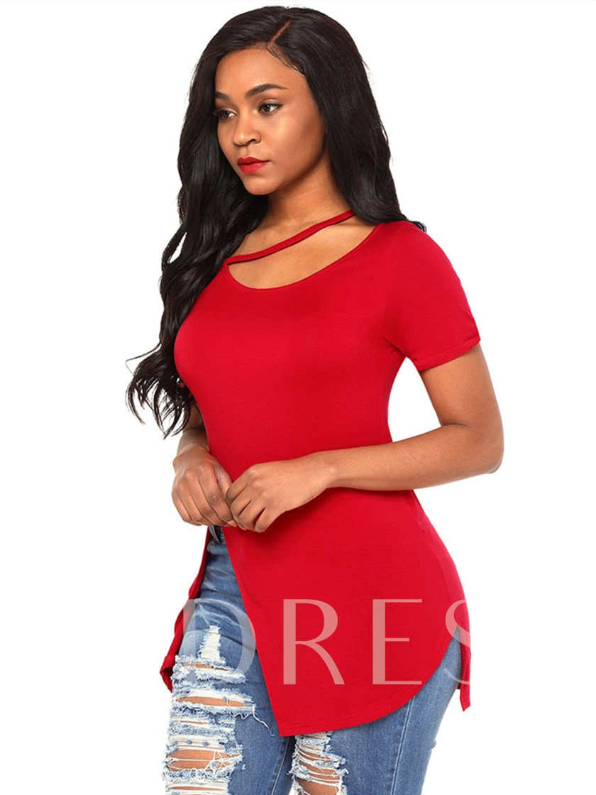 Front Hem Split Casual Women's T-Shirt Top