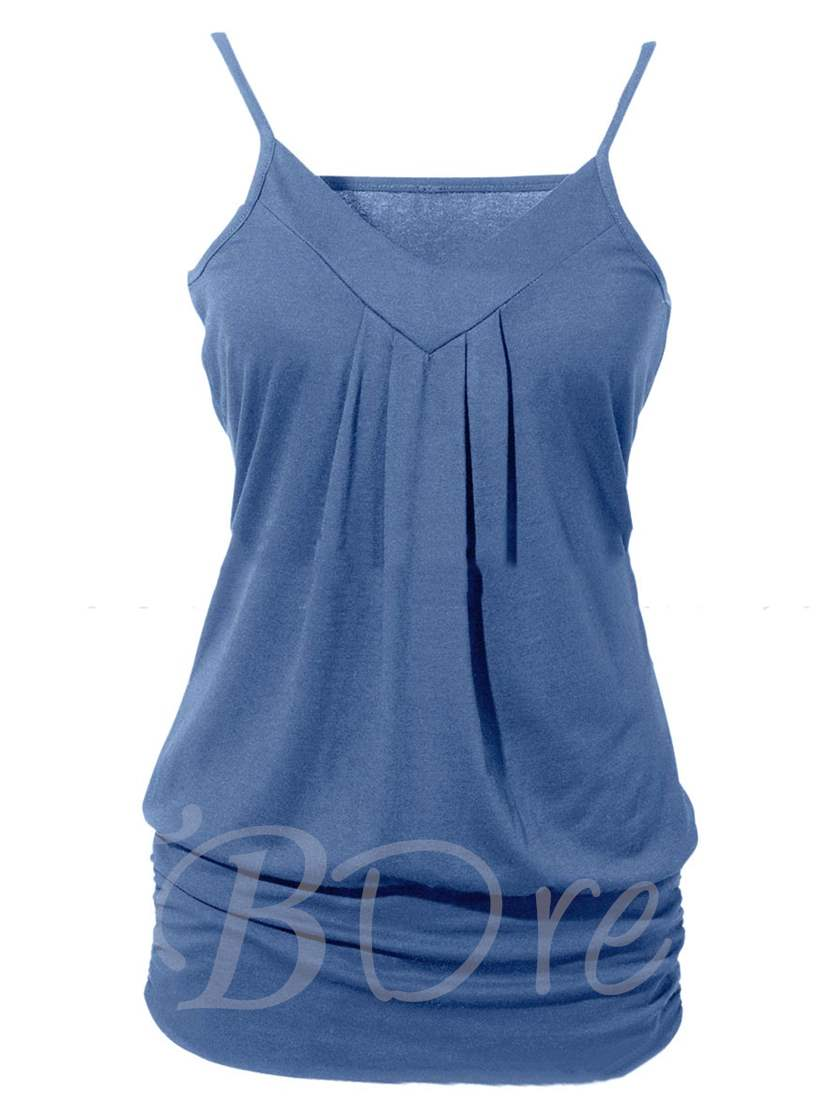 Plain Plus Size Available Ruffle Women's Tank Top