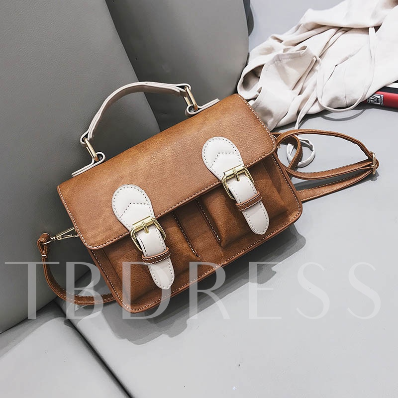 Fashion Belt-Decorated Color Block Women Tote