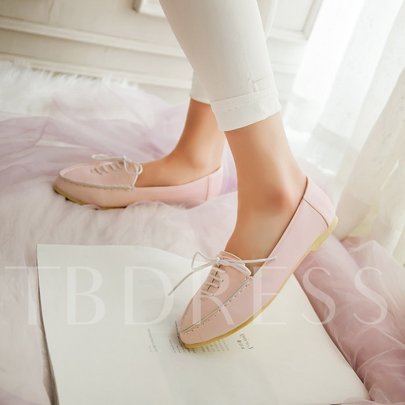 Lace Up Pointed To Flat Boat Shoes for Women