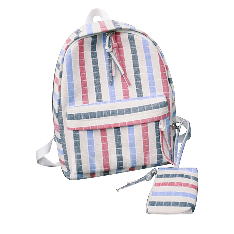 Casual Color Block Zipper Backpack