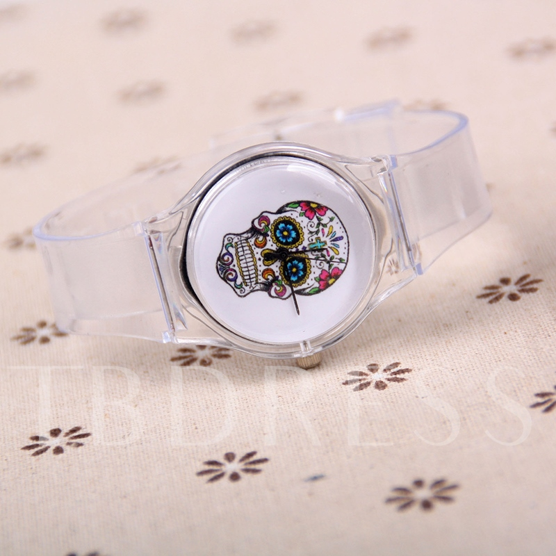 Skull Pattern Transparent Strap Watches