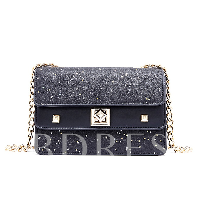 Sequins Latch Decoration Crossbody Bag