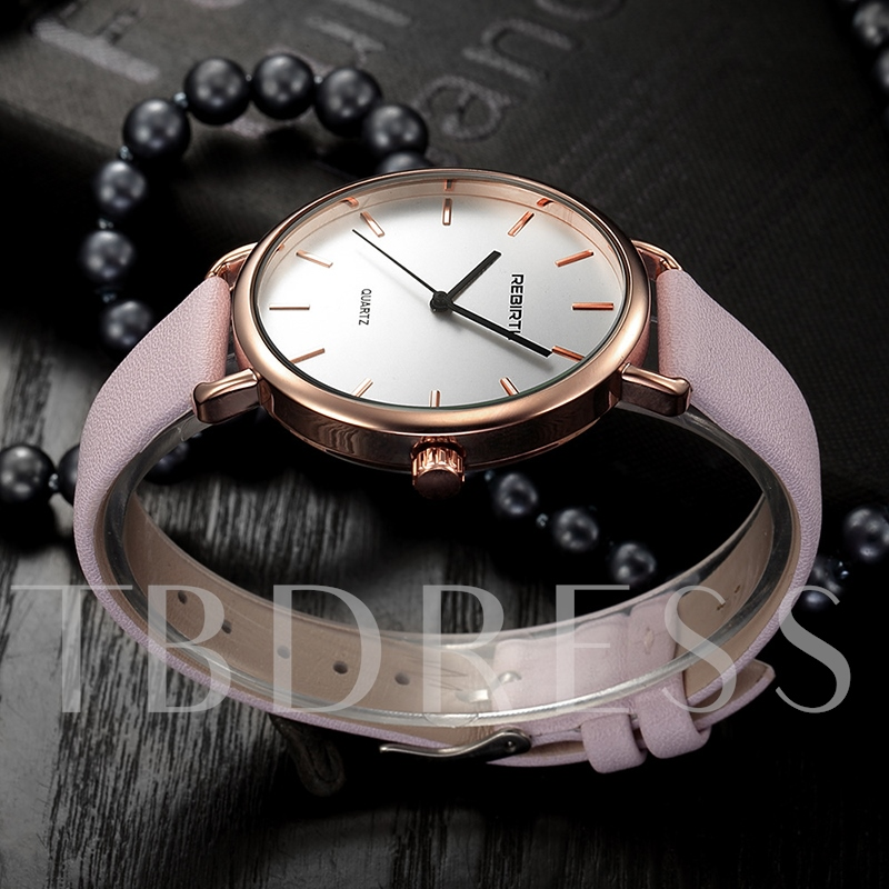 Round Simulated Leather Band Watches