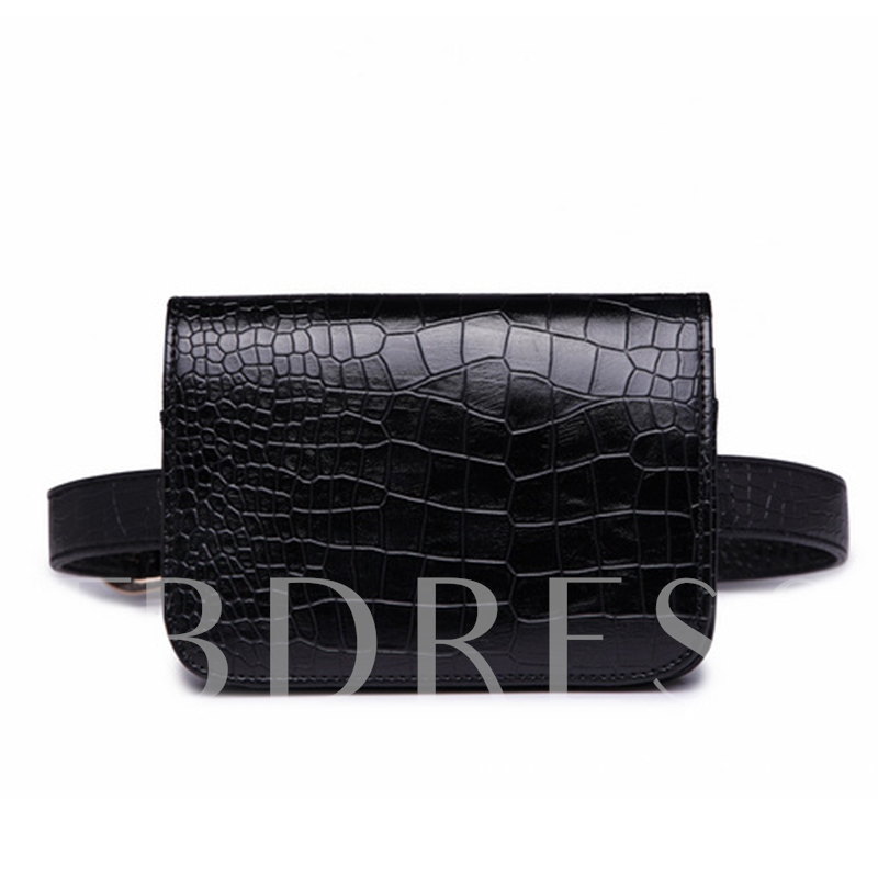 Classic Croco-Embossed Plain Women Waist Pack