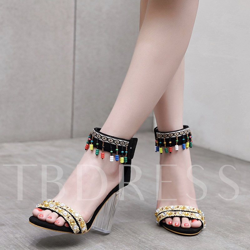 Lucite Chunky Heel Suede Vintage Style Beads Sandals for Women