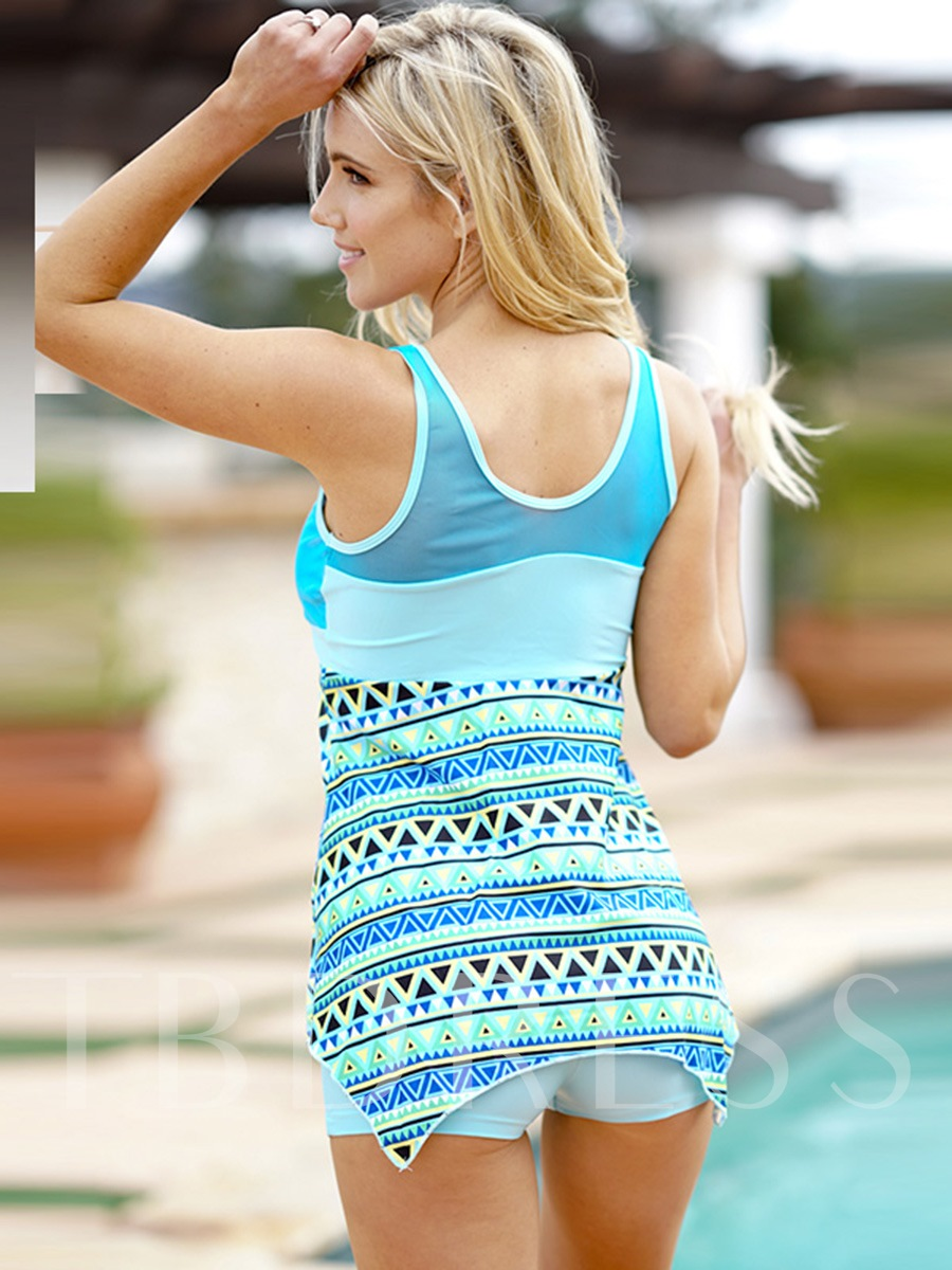 Geometric Print Striped Bowknot Women's Tankini Set