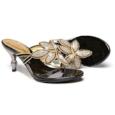 Colorful Rhinestone Floral Thong Heels Sandals women's Shoes