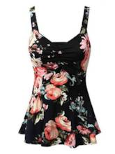 Elastic Slim Fit Floral Print Women's Tank Top