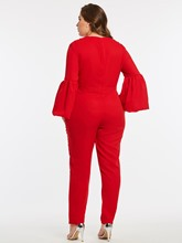 Slim Plus Size Puff Sleeves Women's Jumpsuits