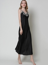 Satin Nightgown V-Neck Sleeveless Ankle-Length Night Dress